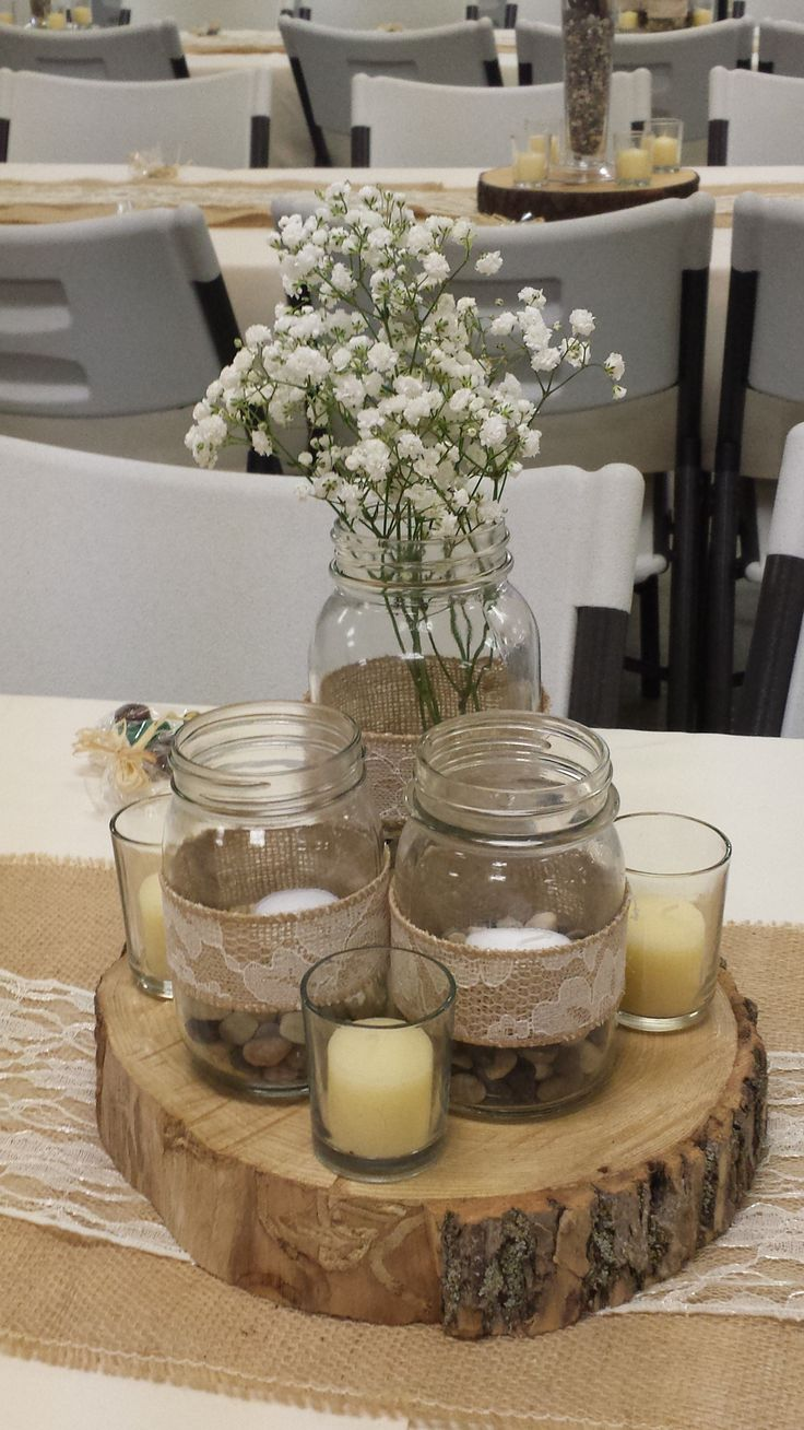 Rustic Wedding Centerpiece 3 Mason Jar Centerpiece With