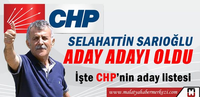 SARIOĞLU, CHP'DEN ADAY ADAYI OLDU   http://www.malatyahabermerkezi.com