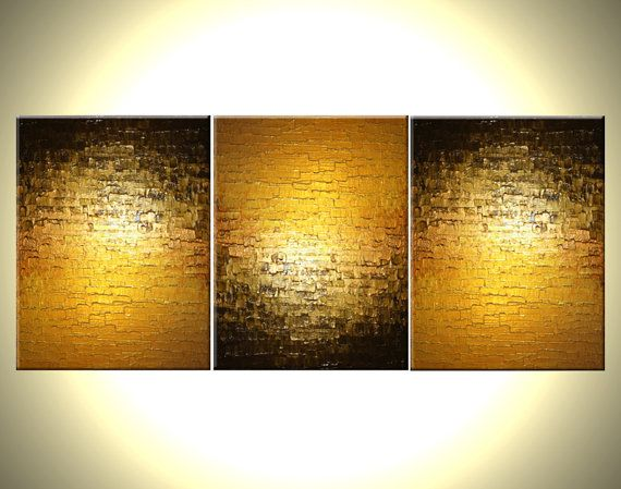 Abstract Gold METALLIC Textured Original Bronze Reflective PAINTING by Lafferty - 24 X 54 - Sale 22% Off