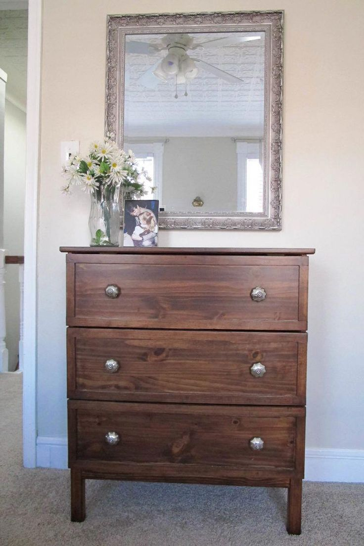 Ikea Tarva makeover with trim and gel stain