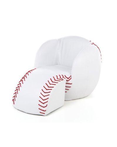 Baseball Chair w Ottoman Childs Seat w Stool Kids Novelty Sport Chaise Furniture | eBay