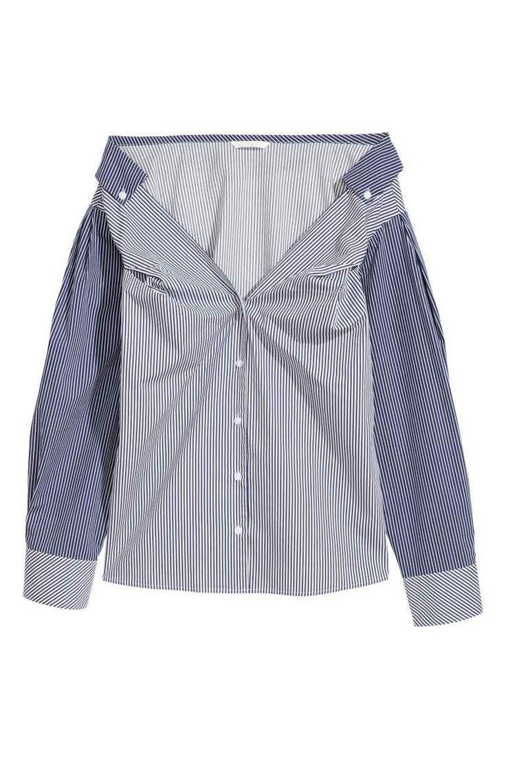 Блуза от памук - Тъмносин/Бял, райета - ЖЕНИ | H&M BG 1