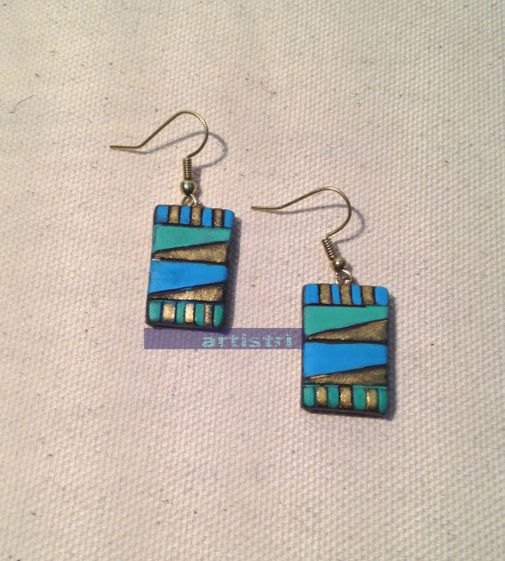 Colours of the sea terracotta earrings in blue and green