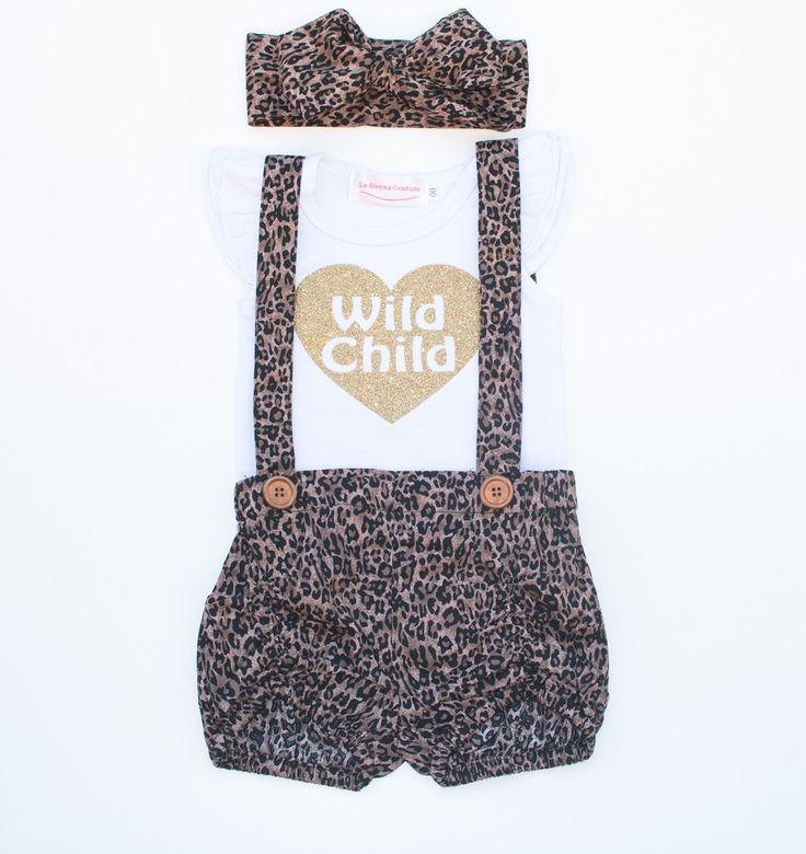 Suspender Shorts   Flutter Sleeve Set - Wild Child