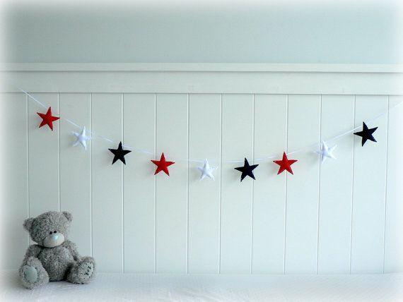READY NOW - Star garland - felt star banner - Red, Navy blue and white - Nautical - Nursery decor
