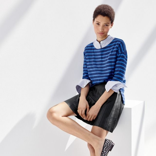 J.Crew Looks We Love: women's deck-striped T-shirt, striped popover with contrast piping, faux-leather pleated mini skirt and Collection Kiki leopard calf hair ballet flats.