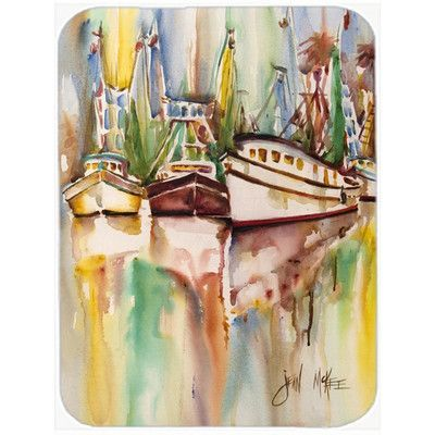 Caroline's Treasures Ocean Springs Deep Sea Fishing Boats Glass Cutting Board