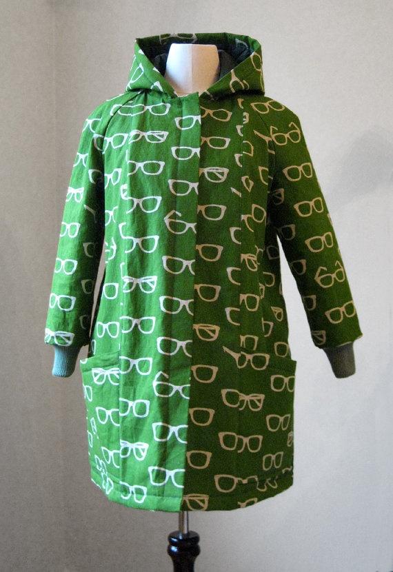 winter coat - green geometric glasses abstract