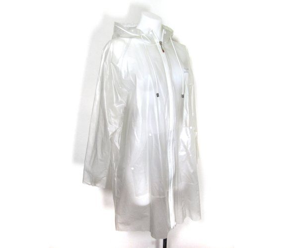 Sz M Tommy Hilfiger Raincoat Tommy Clear Raincoat 90s Clear Etsy Raincoats For Women Raincoat Fashion