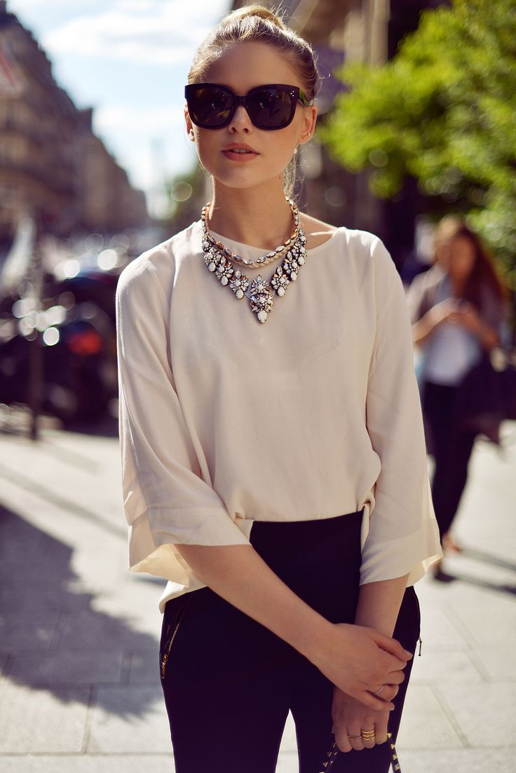 Neutral Top | Statement Necklace.