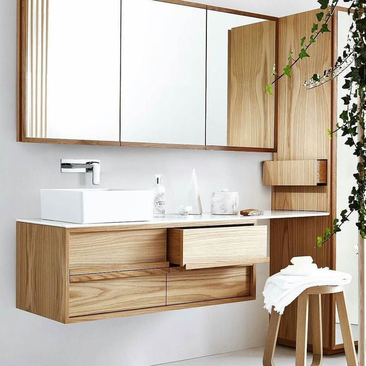 Floating butterfly timber vanity with quilted lined drawers for added luxe. Designed by Issy by Zuster Collaboration. Pic by @zusterfurniture #furnituredesign #bathroom by habitat_to_home