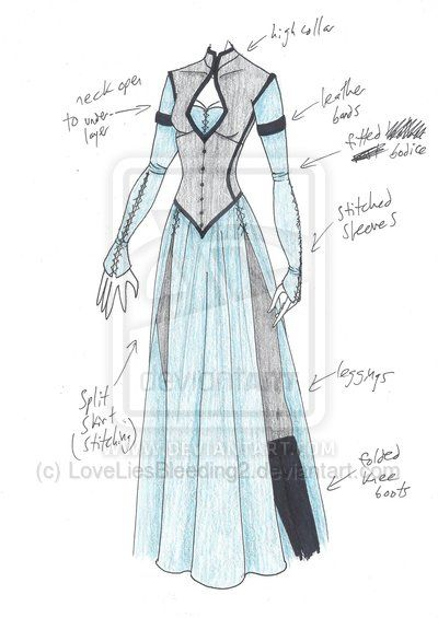 MHcd - Reconnaissance by LoveLiesBleeding2 costuming sketch dress with slits, pants underneath