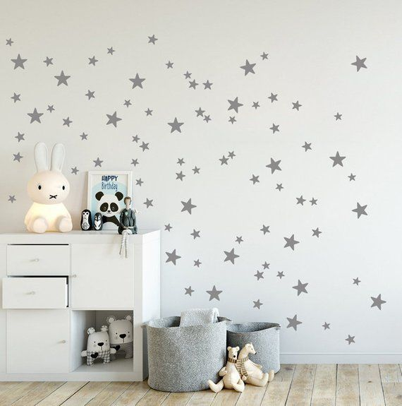 Mini Stars Wall Decals, mixed Set of 90 little stars, 2 up to 4 cm sized in Gold, Grey, Star Wall Stickers, Kids Room Decals & Home Decor