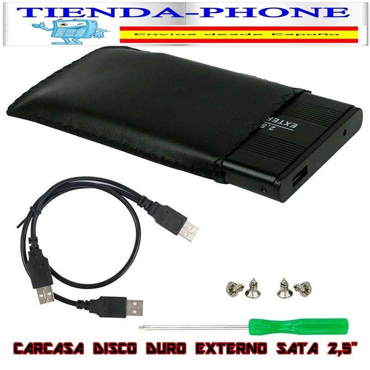 Caja Externa USB Carcasa para Disco Duro 2,5 SATA Externo Box Cable y Funda