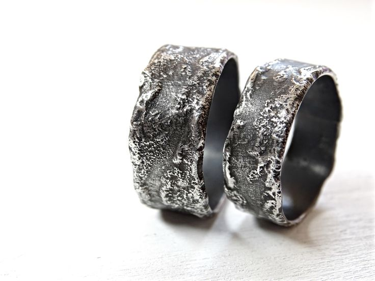 Beautiful unique wedding rings silver silver wedding bands rustic richly structured rings silver mitment