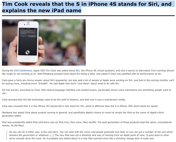 Tim Cook reveals that the S in iPhone 4S stands for Siri, and explains the