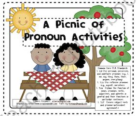 Picnic of Pronoun Activities provide practice in 1st, 2nd, and 3rd grade Common Core ELA Standards. Activities include: personal pronouns, possessive pronouns, indefinite pronouns, reflexive pronouns