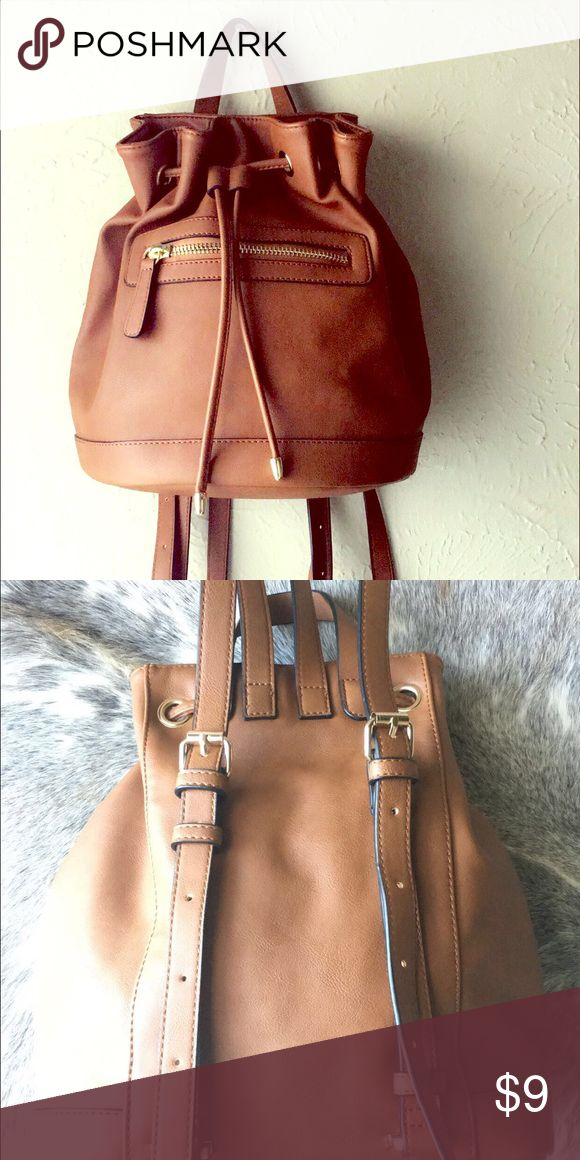 Camel leather Backpack Faux Leather backpack in camel color. Worn once. Good for running errands or wear to your upcoming festivals. Forever 21 Bags Backpacks