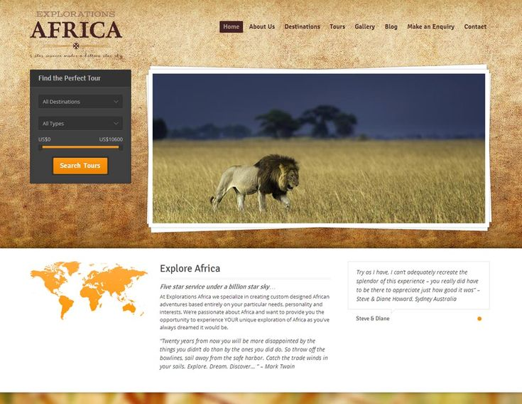 We designed and built the Explorations Africa website! Explorations Africa is a small but passionate Canadian based African Safari tour operator specializing in unique and luxurious custom tour packages primarily to Southern Africa.