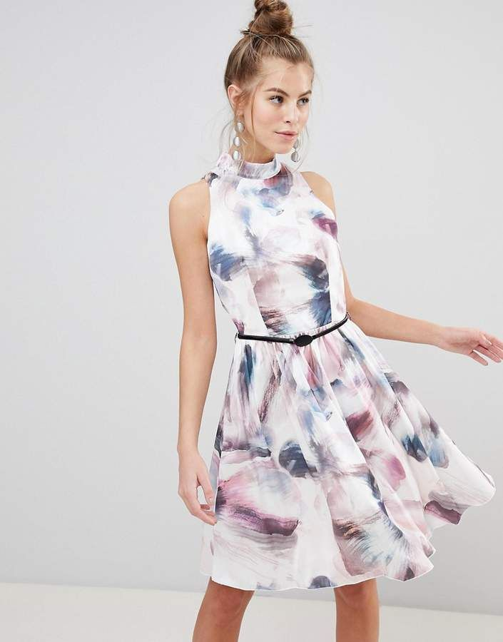 Little Mistress High Neck Prom Dress In Watercolor Print In 2018