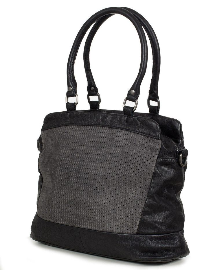 FREDsBRUDER punched triangle handbag, cowhide leather&waxed Suede - (34x29x13cm), Colour:Black: Amazon.co.uk: Clothing