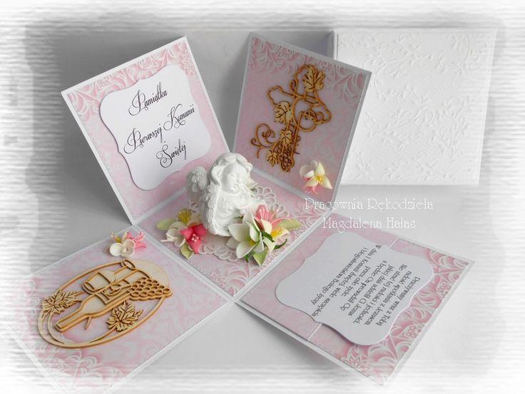 Komunijny box różowy z aniołkiem - magdahalas - Kartki z gratulacjami