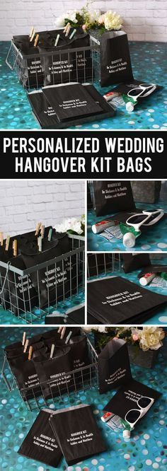 A fun DIY wedding favor idea for alcohol wedding receptions and bachelorette party favors, create your own hangover survival kits packaged in custom printed bags for guests to pick up at the bar before they leave. Add sunglasses, band aids, mouth wash, Tylenol or aspirin, and energy bars to help guests recover the morning after. These personalized bags can be ordered at http://myweddingreceptionideas.com/wedding-hangover-survival-kit-favor-bags.asp #weddingfavors