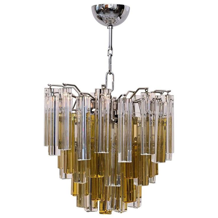 Italian Chandelier in Murano Glass with Trifogli Clear and Amber Venini Prisms   From a unique collection of antique and modern chandeliers-pendant-lights at https://www.1stdibs.com/furniture/lighting/chandeliers-pendant-lights/