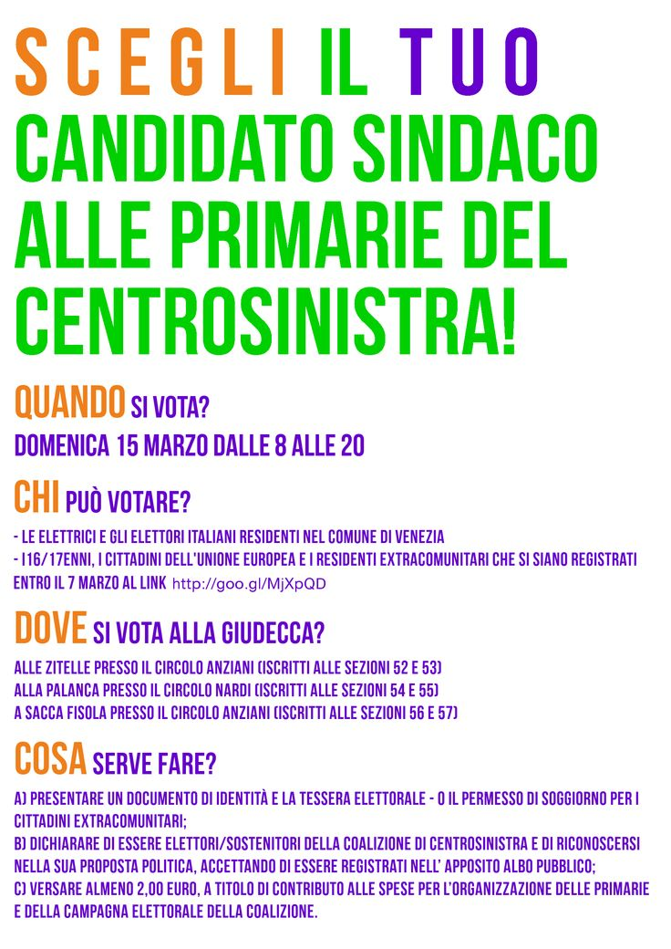 Partito Democratico (Democratic Party) local campaign flyer, Venice, 2015