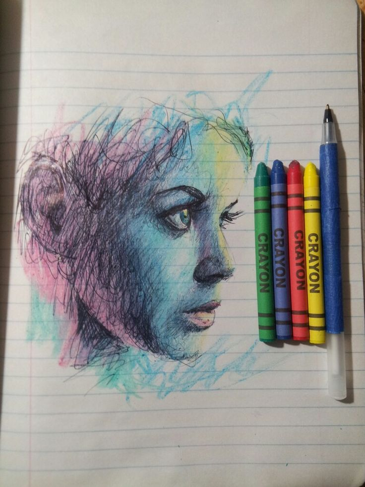 YOU DON'T NEED FANCY ART SUPPLIES TO MAKE ART Here's an impressive drawing by Jason Rudolph Peña done with nothing but a pen, some crayons, and some lined paper. Check out the timelapse video to see the drawing come to life below.