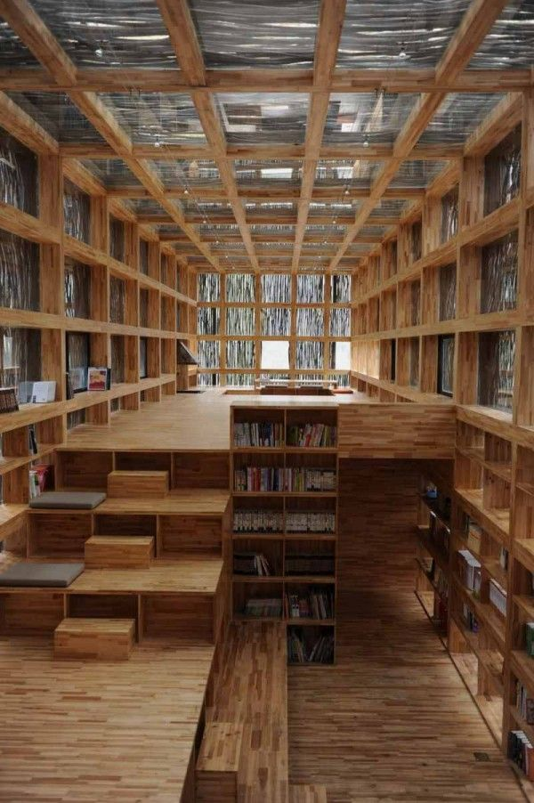 Interior Of Library With Wood Structure And Branch Exterior