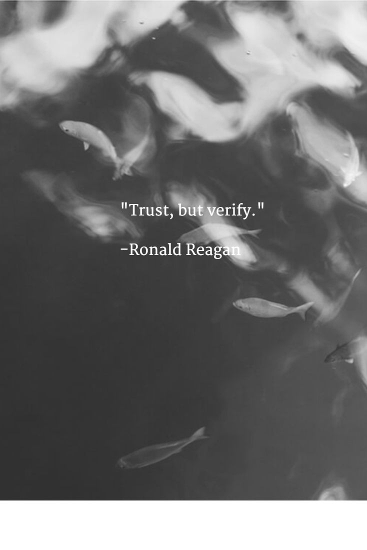 """Trust, but verify."" -Ronald Reagan"