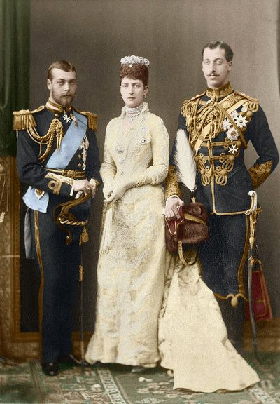 """Queen Alexandra """"Alix"""" (Alexandra Caroline Marie Charlotte Louise Julia) (1844-1925) Denmark, (wife of Albert Edward (King Edward VII) (1841-1910) Prince of Wales, UK), with 2 of their sons Prince George V (George Frederick Ernest Albert) (1865-1936) Duke of York, UK & Prince Albert Victor (Albert Victor Christian Edward) (1864-1892) Duke of Clarence & Avondale, UK."""