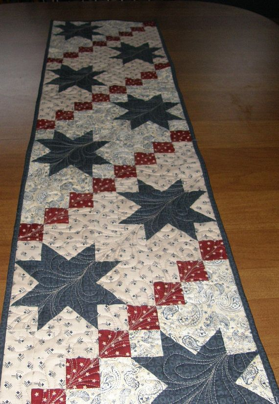 Red White /& Blue Decor 4th of July Table Quilted Table Decor Patriotic Holiday Decor Quiltsy Handmade Patriotic Narrow Tablerunner
