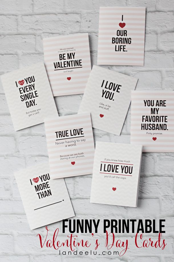 Funny Valentine's Day cards for your spouse or partner. Free printable.