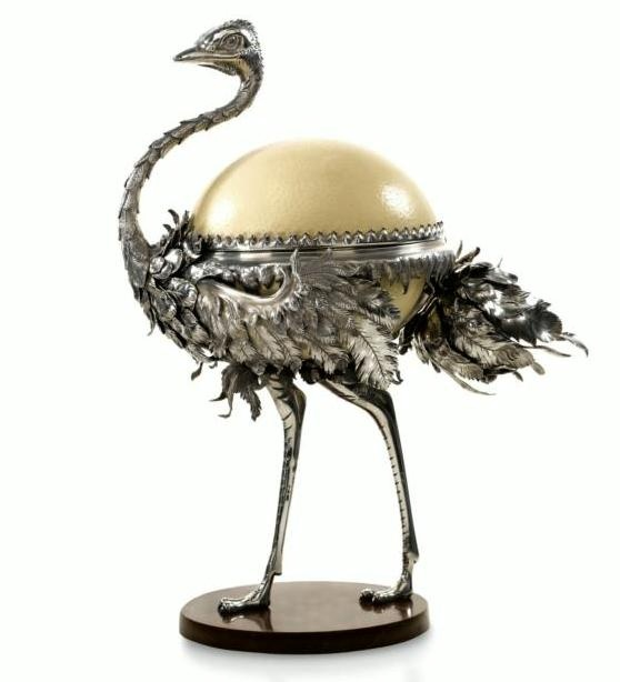 Faberge, Ostrich, Master Julius Rapoport, 1895. Фирма Фаберже Скульптурная бонбоньерка в виде страуса Мастер Юлиус Раппопорт 1895