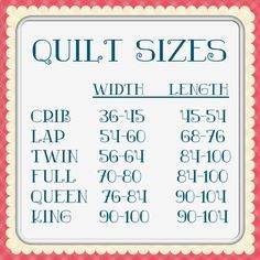 Charts - quilt size chart from Sassy Quilter- go to her site for more charts