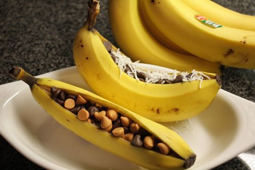When your Bear Cub Scouts are working on their required adventure, Bear Necessities, they have to cook two meals outdoors.  Banana boats are great desserts!