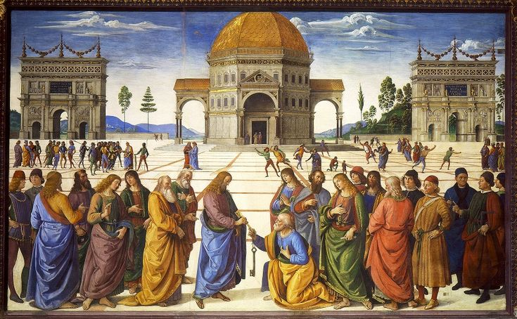 Pietro Perugino painted this fresco in the Sistine Chapel in Rome in about 1481. Called The Delivery of the Keys, it shows Christ giving St. Peter the keys to heaven. It is a powerful example of linear perspective, with the edges of the paving stones on the plaza serving as orthogonal lines and narrowing to the vanishing point near the doorway of the temple. Note the foreshortening of the human figures at different points in the background. - Image via Wikipedia