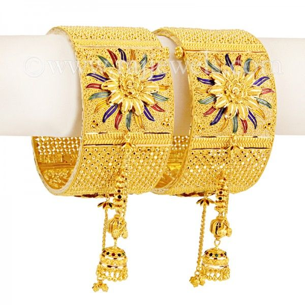 #22karat yellow# gold wide #kada #bangles with #minakari (#enamel paint) and danglings. Excellent choice for #brides. https://www.rajjewels.com/22k-gold-bangles-gb663.html#sthash.62p6xje0.dpuf