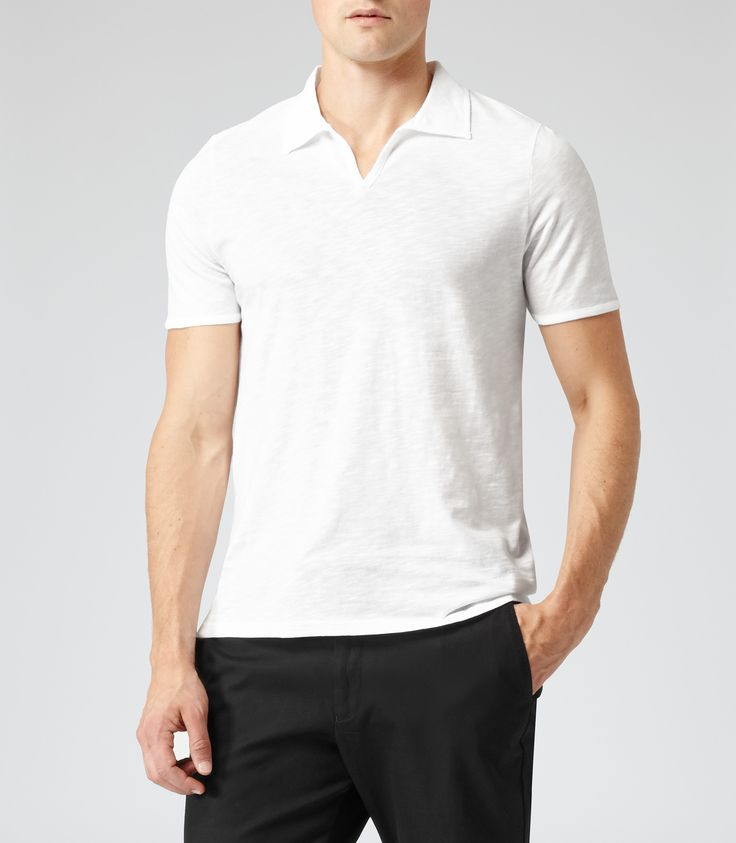 Reiss White Open Collar Polo T-shirt