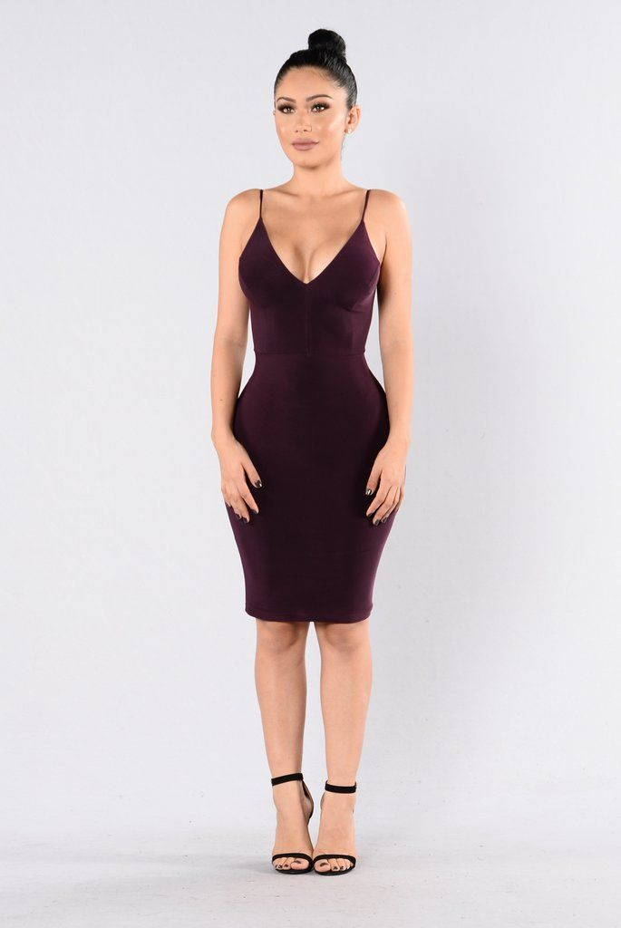 - Available in Plum & Mustard - V Neckline - Spaghetti Straps - Open Back - Ruched Back - Knee Length - Fitted - 95% Polyester, 5% Spandex