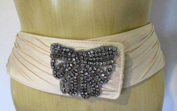 BELT Beige Silk & Leather back Diamante Rhinestone Bow Buckle Alannah Hill Sz M