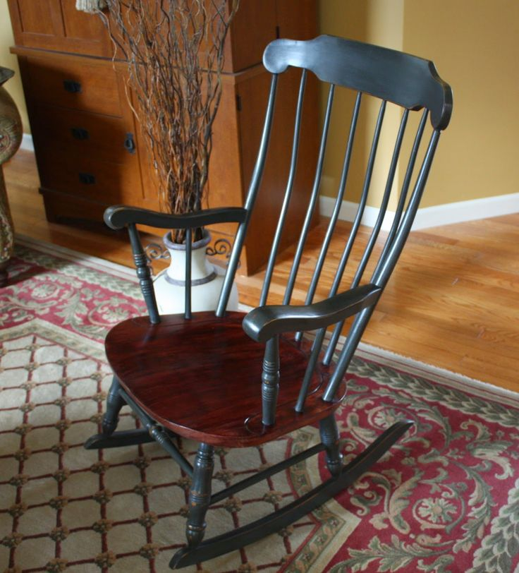 Antique Colonial Rocking Chair. Annie Sloan Chalk Paint Graphite. Hand waxed an buffed.