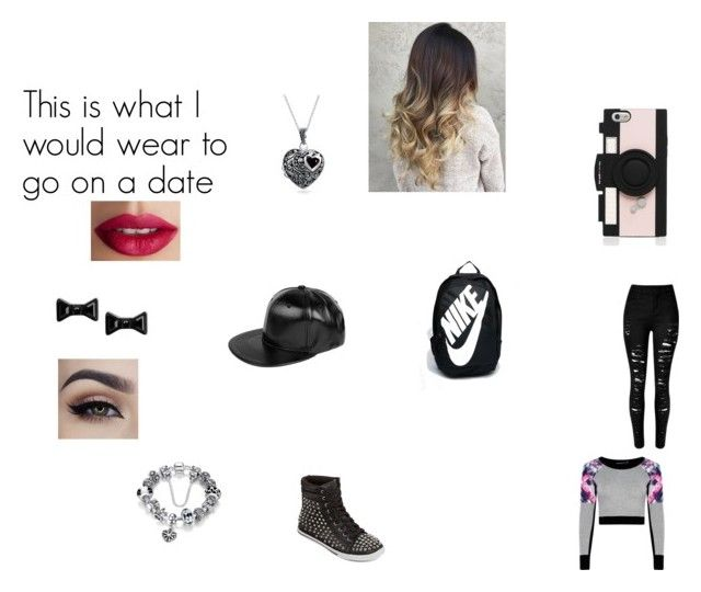 """""""This is what I would wear to go on a date"""" by emmapkerr5 on Polyvore featuring N.Y.L.A., NIKE, Kate Spade, Boohoo, Marc by Marc Jacobs, Bling Jewelry and TheBalm"""