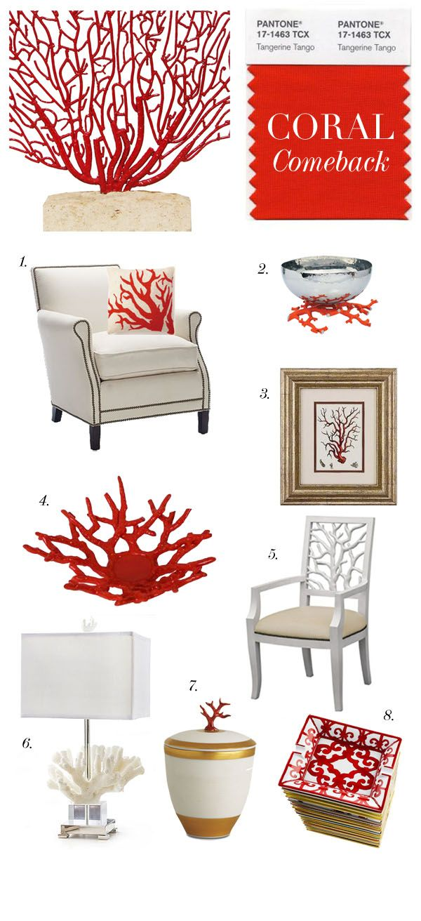 1. Embroidered Red Coral Pillow from Margaux Interiors  2. Coral Reef Bowl by Michael Aram 3. Framed Coral Print 4. Ceramic Coral Dish 5. Coral Armchair Oly  6. Coral and Crystal Table Lamp, by Regina Andrew  7. Coral Candle Small White porcelain by L'Objet  8. Balcon du Guadalquivir Ashtray by Hermes