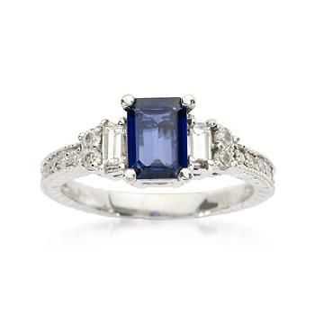 1.10 Carat Sapphire and .50 ct. t.w. Diamond Ring In 14kt White Gold