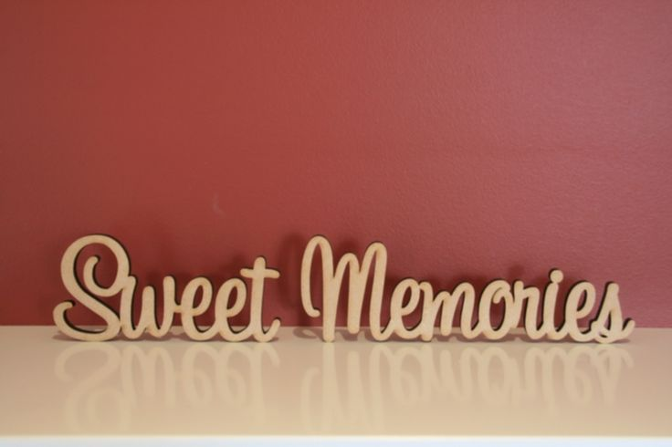 Decoroo Australia, custom made wooden words, names, letters and signs. - 10cm tall Freestanding wooden word phrase Sweet Memories, $14.30 (http://www.decoroo.com.au/10cm-tall-freestanding-wooden-word-phrase-sweet-memories/)
