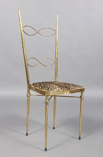 SET 4 GIO PONTI STYLE BRASS PLATED CHAIRS : Lot 194