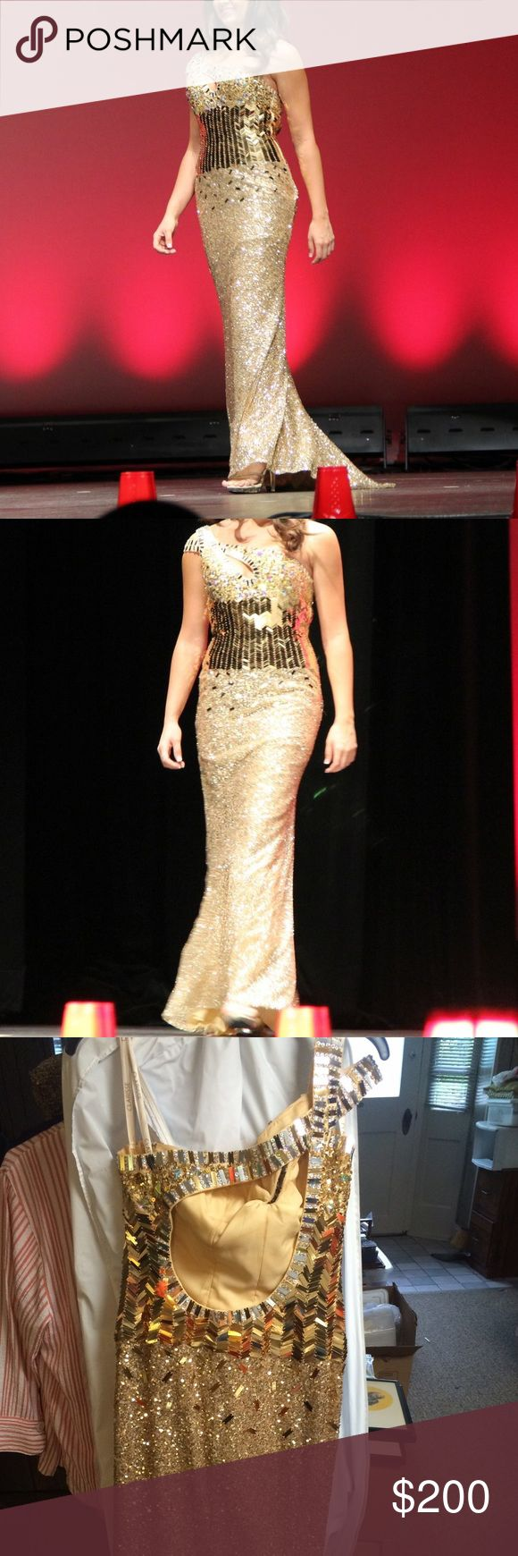 Clarisse Prom/Pageant Gown This STUNNING gold gown is perfect for prom or pageant. Worn a few times for pageants but in great condition. Small spray tan stains on inside lining near tag and under arms (but can't be seen from the outside). Bodice with gold chevron like pattern and from the waist down has gold sequins all the way down. Floor length. Key hole on chest and back. Clarisse Dresses Prom